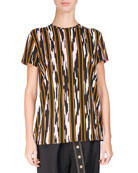 Ikat-Striped Cotton T-Shirt, Multi Pattern