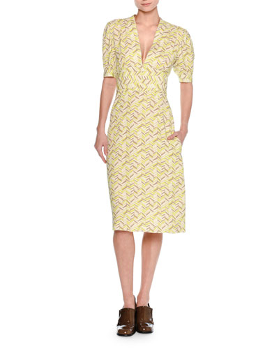 Chevron V-Neck A-Line Dress, Yellow