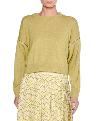 Mélange Wool Zip-Sleeve Sweater, Yellow