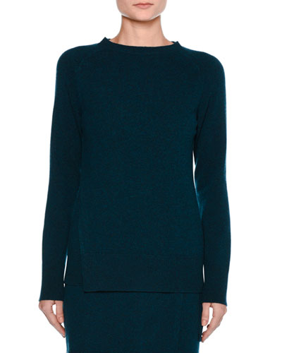 Double-Panel Cashmere Pullover, Blue