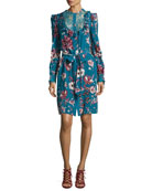 Forbidden Fruit Silk Long-Sleeve Belted Dress, Blue