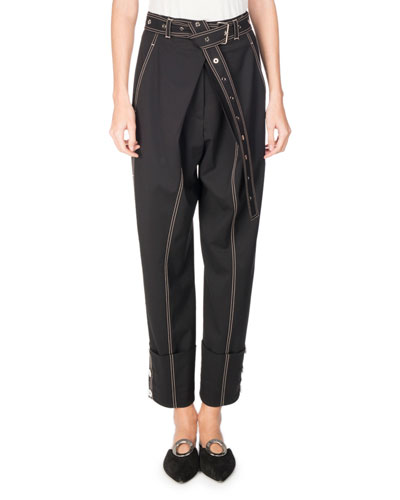 Topstitched Pleat-Front Pants, Black