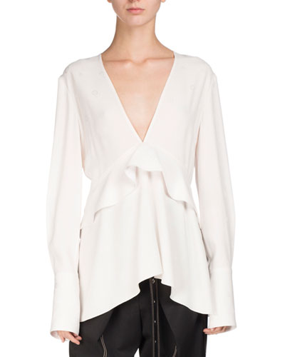 V-Neck Ruffle-Trim Blouse, White