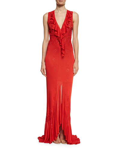 Sleeveless V-Neck Ruffle-Trim Gown, Red