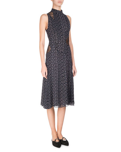 Sleeveless Mock-Neck Leopard-Print Dress, Multi Pattern