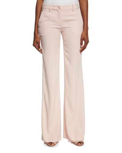 Satin-Stripe Wide-Leg Pants, Blush