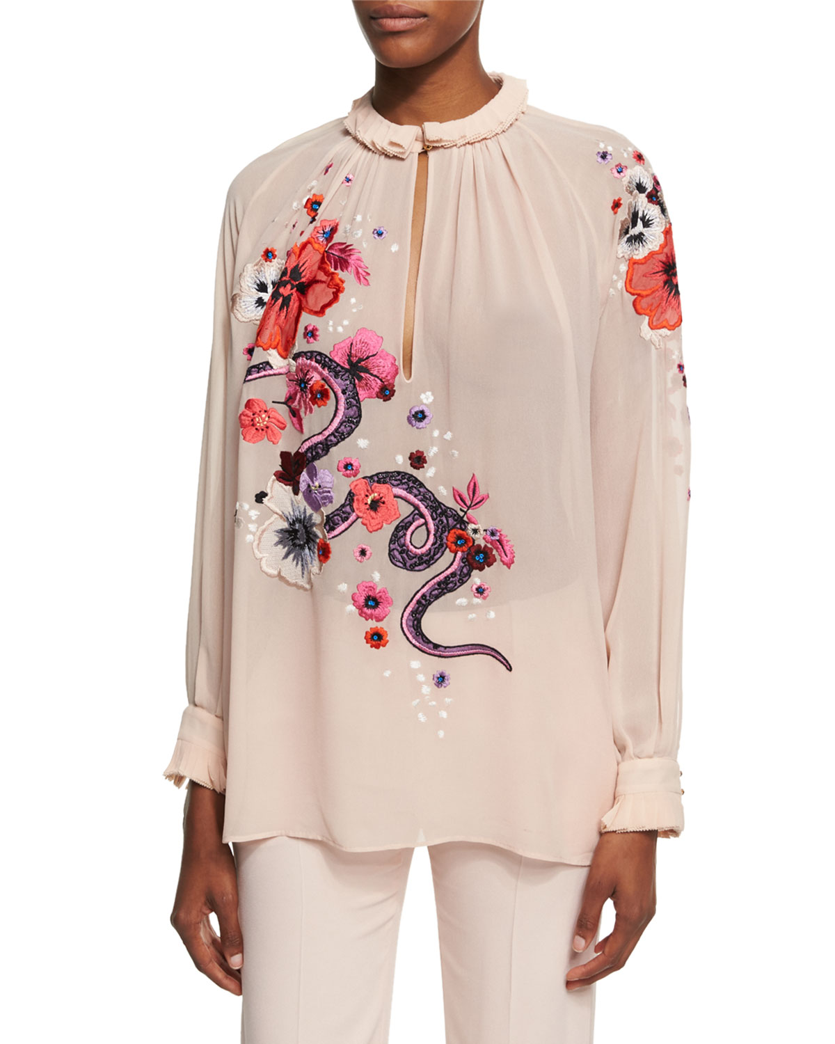 Embroidered Snake & Floral Chiffon Blouse, Pink