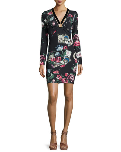 Mystic Garden Long-Sleeve Minidress, Black/Pink
