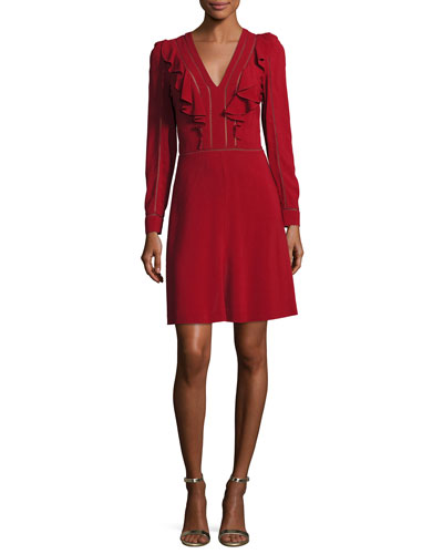 Long-Sleeve V-Neck Ruffle Dress, Crimson