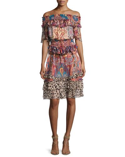 Sherazade Mixed-Print Off-the-Shoulder Dress, Multicolor