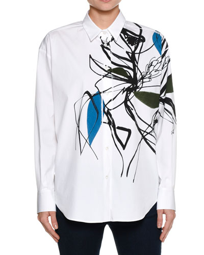 Abstract-Print Stretch Cotton Shirt, White