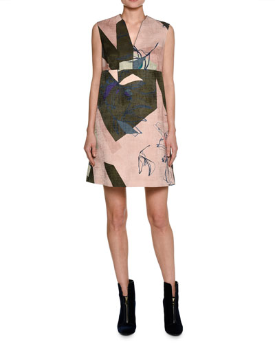 Sleeveless Jacquard Shift Dress, Pink/Olive