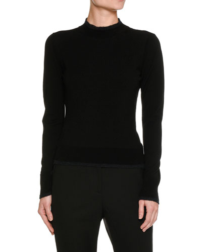 Contrast-Tip Mock-Neck Sweater, Black