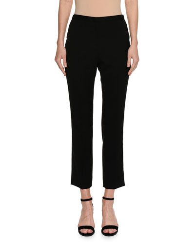 Audrey Flat-Front Cropped Straight-Leg Pants, Black
