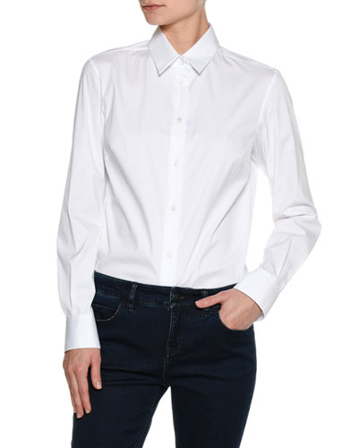 Basic White Poplin Shirt, White