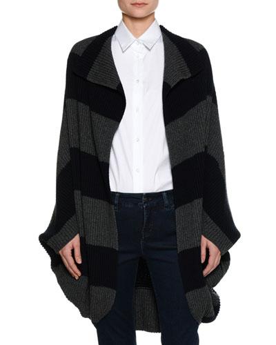 Heavy-Rib Striped Coat Sweater, Navy/Gray