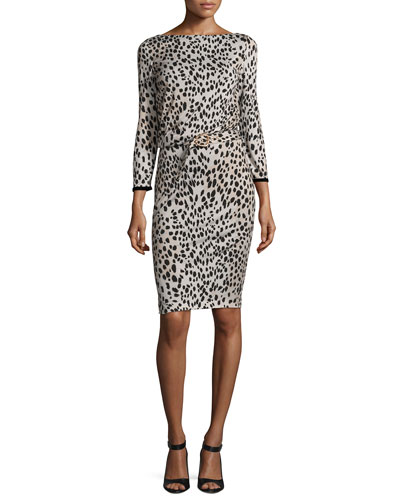 Belted Long-Sleeve Cheetah-Print Dress, Neutral