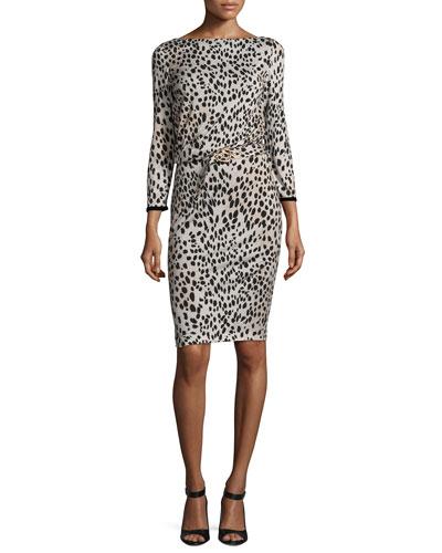 Belted Long-Sleeve Cheetah-Print Dress, Neutral