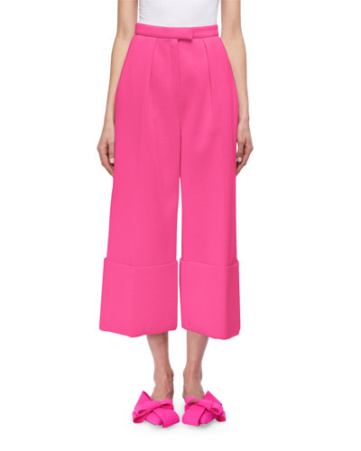 Cuffed Wide-Leg Pants, Blue