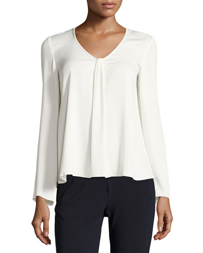 V-Neck Stretch-Silk Blouse