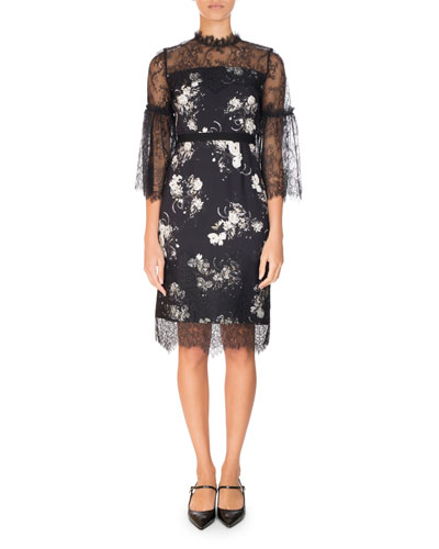 Kiya Lace-Trim 3/4-Sleeve Dress, Black/White