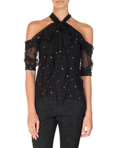 Elin Sequin Chiffon Cold-Shoulder Top, Black Pattern