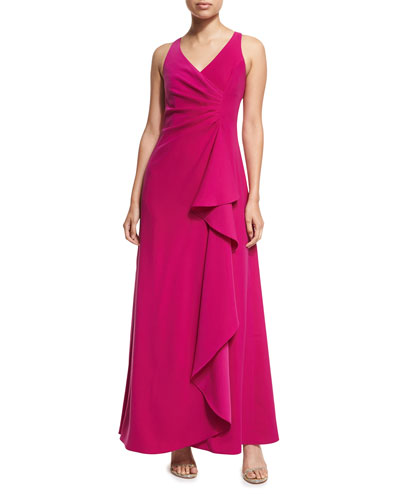 Sleeveless V-Neck Starburst-Pleated Gown