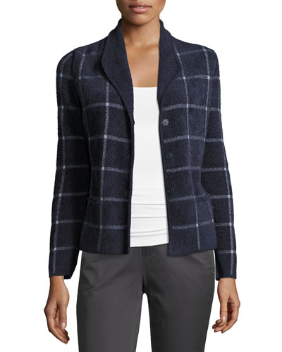 Chenille Windowpane Sweater Jacket, Blue