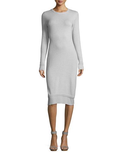 Crewneck Long-Sleeve Tube Dress