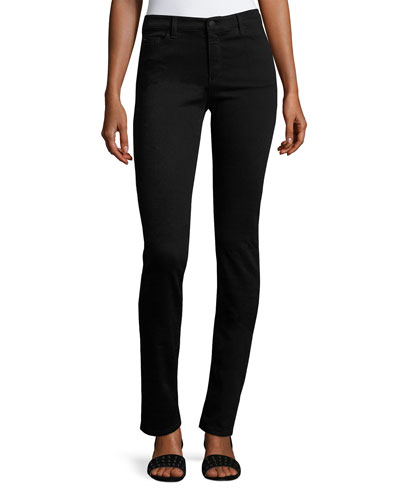 High-Rise Stretch-Denim Slim Jeans, Black