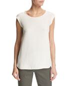 Mae Silk Cap-Sleeve Blouse