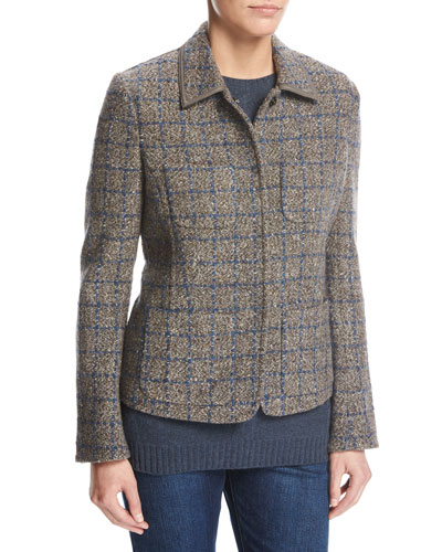 Inverness Tweed Blazer with Leather Trim, Gray