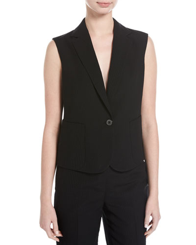 Seersucker Silk-Wool Vest, Black