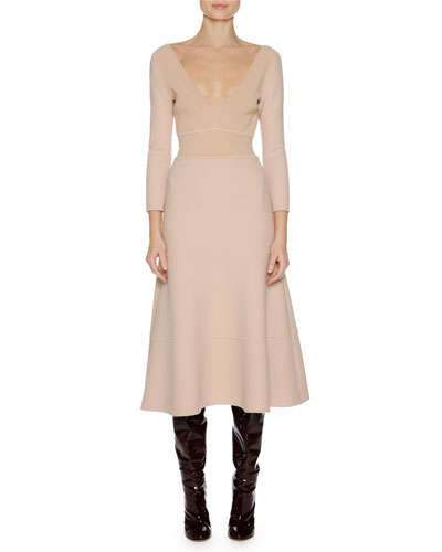 3/4-Sleeve Stretch-Wool Dress, Nude