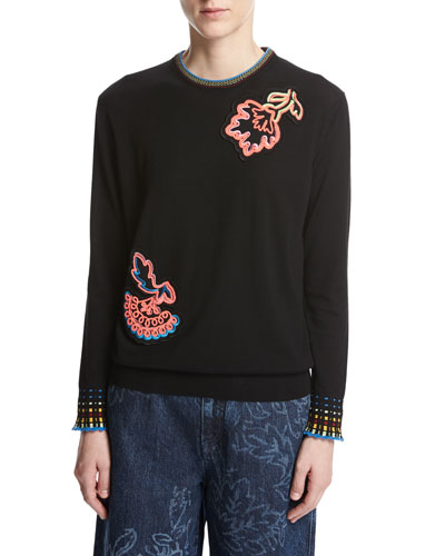 Chenille Sweater with Floral Appliqué, Black