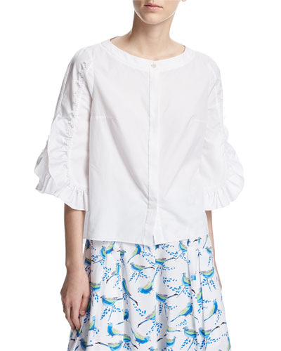 Picot-Trim Poplin Blouse, White
