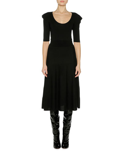Fine Wool Ruffle-Shoulder Midi Dress, Black