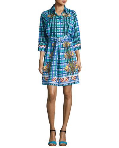 Floral Plaid Belted Shirtdress, Blue