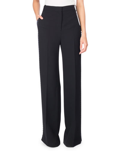 Rickrack Tuxedo-Stripe Wide-Leg Pants, Black/Blue