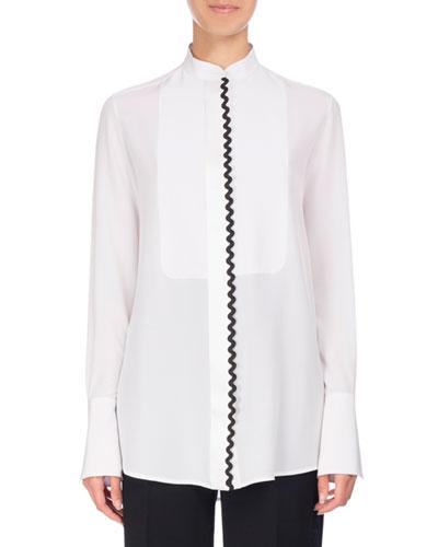 Rickrack-Trim Tuxedo Shirt, White