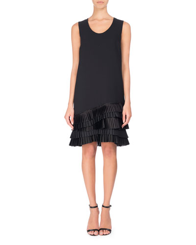 U-Neck Shift Dress with Pleated Ruffle Hem, Black