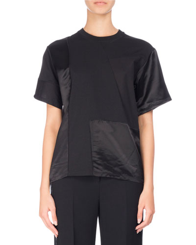 Tonal Satin & Jersey Patchwork T-Shirt, Black