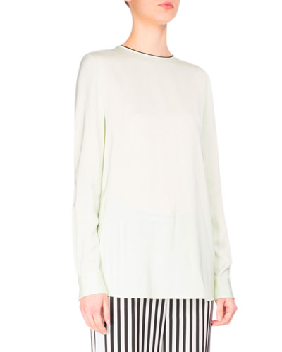 Tie-Back Long-Sleeve Colorblock Top, Green/Black