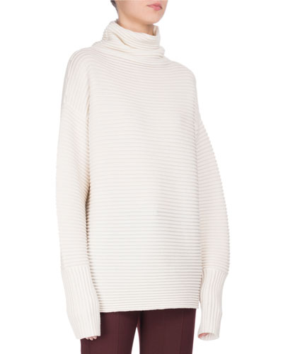 Oversized Ribbed Merino Wool Tunic Sweater, Ivory