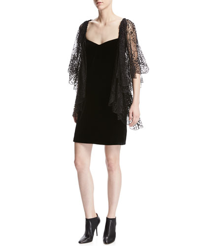 Lace Flutter-Sleeve Velvet Cocktail Dress, Black
