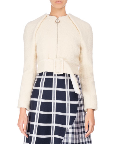 Cropped Zip-Front Teddy Jacket with Belt, Neutral