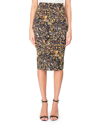 Marble-Print Pencil Skirt, Black