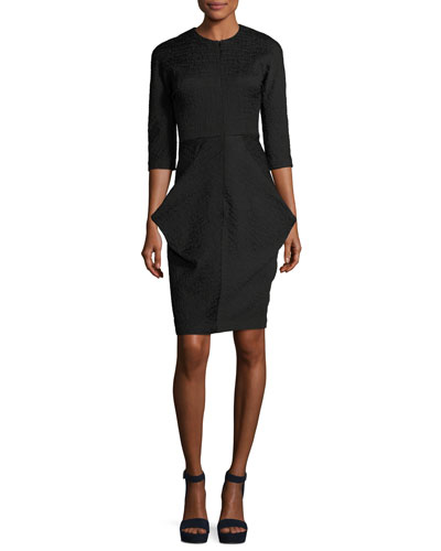 3/4-Sleeve Draped Cocktail Dress, Black
