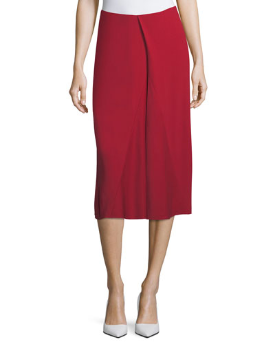 Asymmetric Godet Midi Skirt, Red