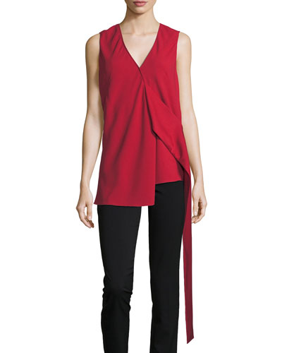 Sleeveless Draped Crepe Top, Red